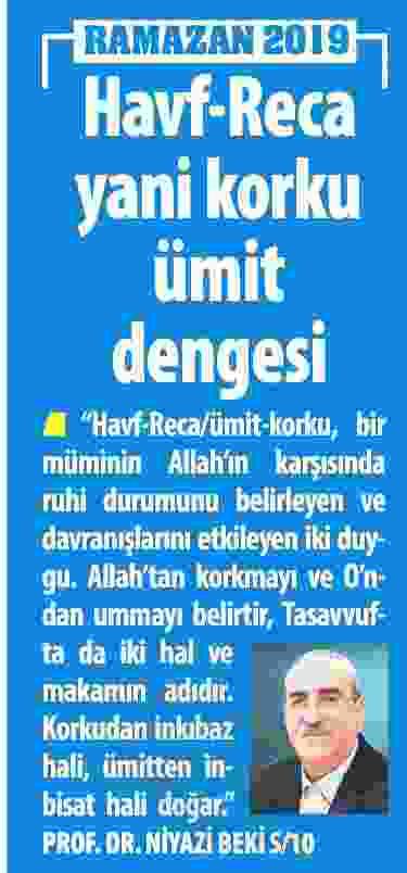 HAVF-RECA YANİ KORKU ÜMİT DENGESİ