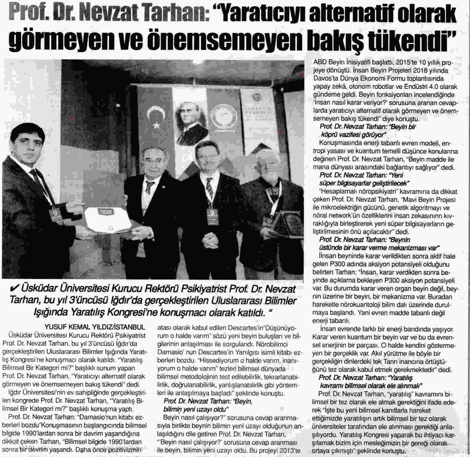 PROF. DR. NEVZAT TARTIAN: YARATICIYI ALTERNATİF OLARAK GÖRMEYEN VE ÖNEMSEMEYEN BAKIŞ TÜKENDİ