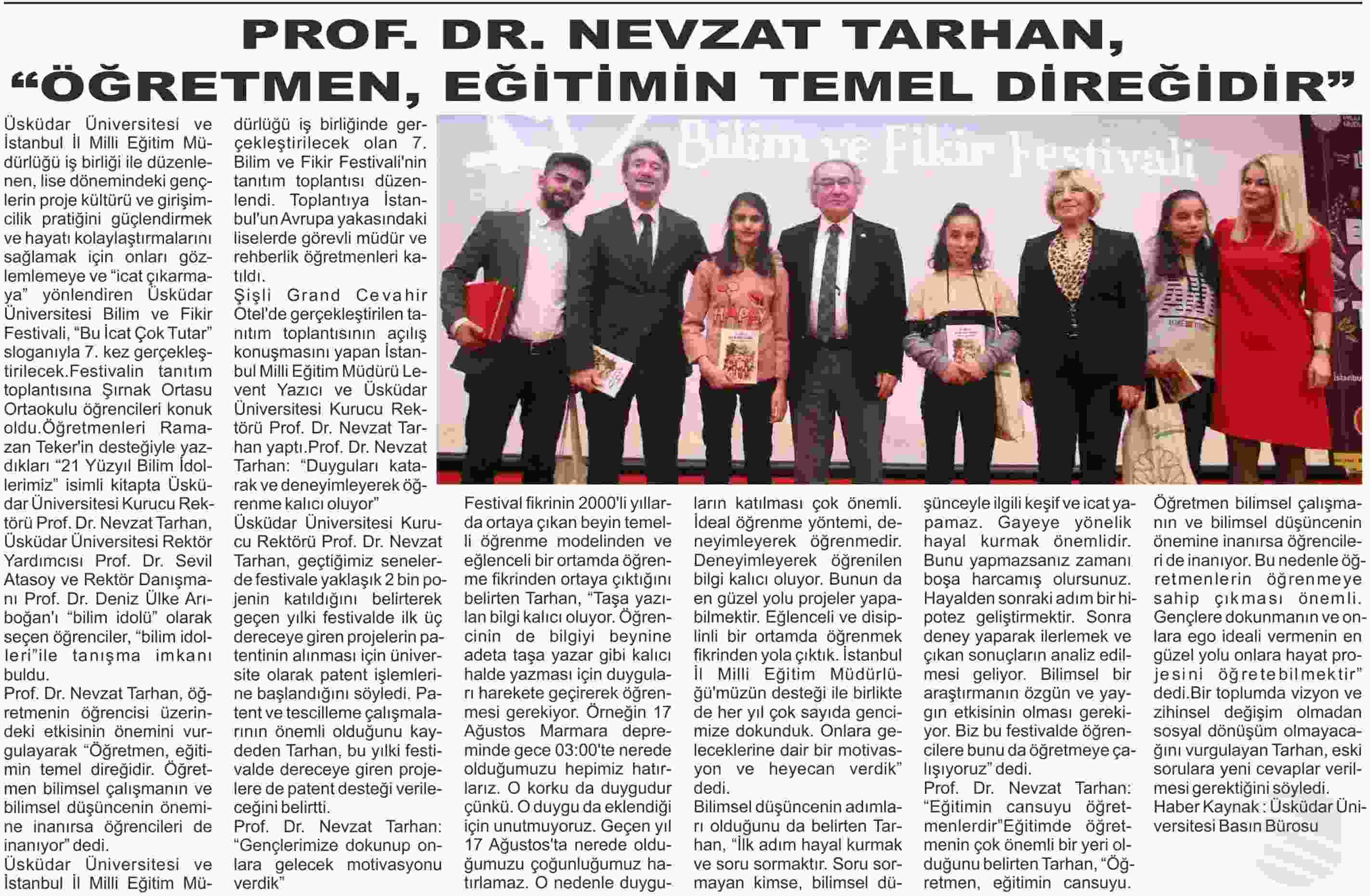 PROF. DR. NEVZAT TARHAN,  ÖĞRETMEN, EĞİTİMİN TEMEL DİREĞİDİR