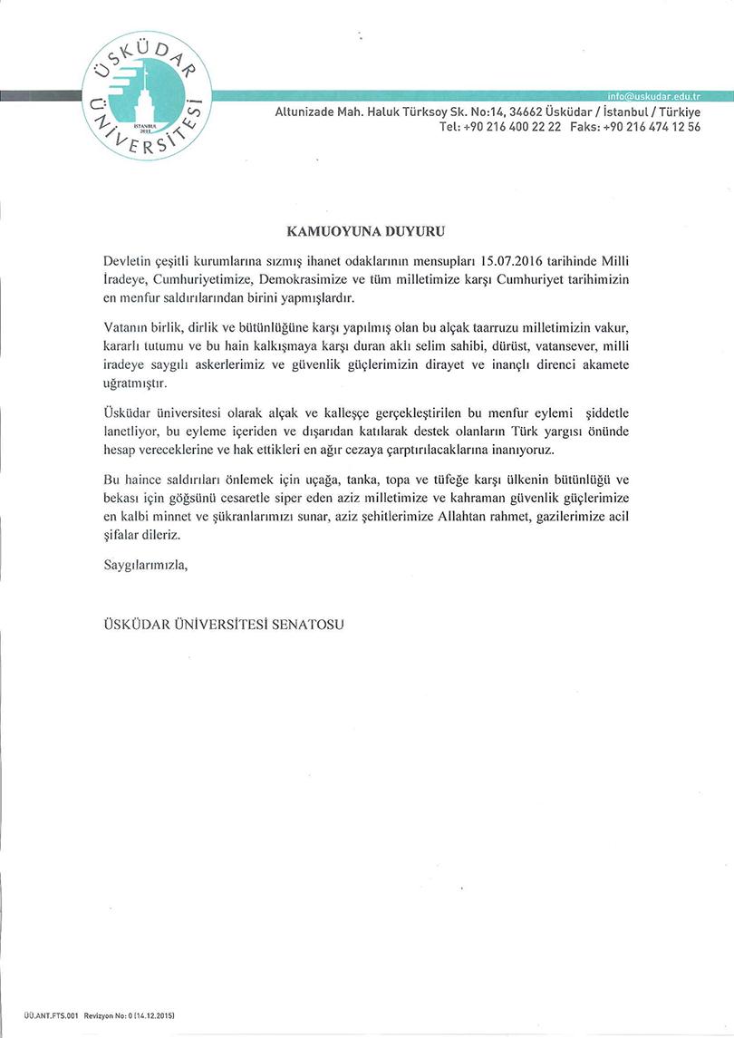 Üsküdar Üniversitesi Senatosundan Darbe Girişimini Kınama!