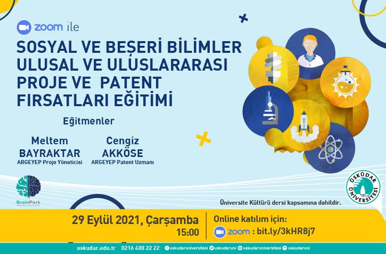 Sosyal ve Beşeri Bilimler Ulusal ve Uluslararası Proje ve Patent Eğitimi